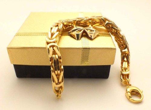 tendenze Königsarmband vergoldet, 8mm quadratisch, Länge 23cm, direkt ab italienischer Fabrik BZG8-23 -