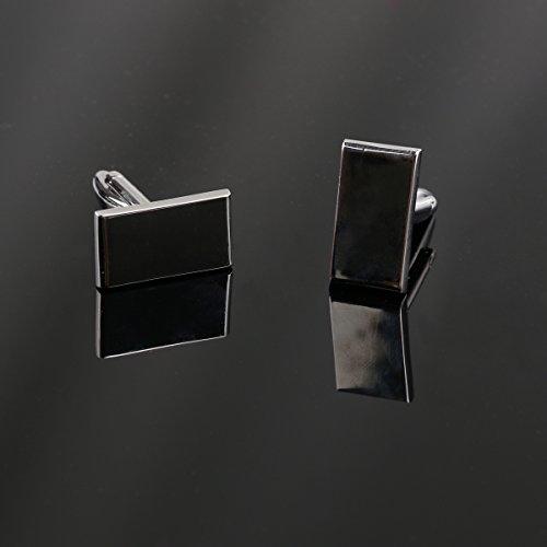 WINOMO Hochwertige Herren Hemd-Manschettenknöpfe Rechteck Ärmel Buttons - beste Geschenk für Herren (Silber) -