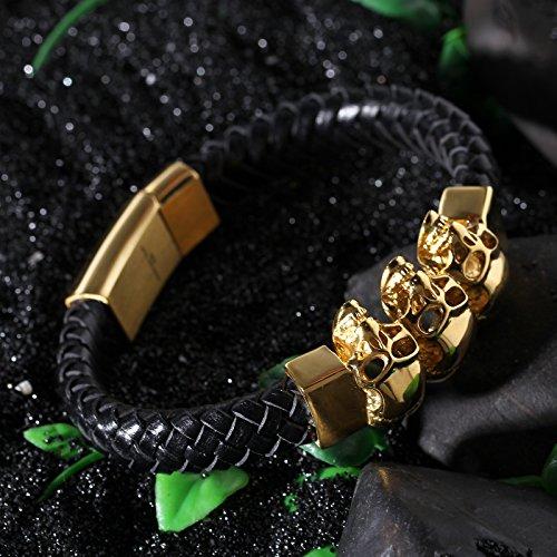 YSM geflochtene Lederarmband 220 mm Edelstahlarmband Dreikopf Schädel-Armband 23mm Breite Stylish Men (schwarz + Gold) -