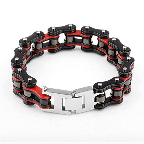 YSM Heavy-Duty-Armband-Motorrad-Stulpe-Armband-316L-Edelstahl-Männer Masculine Fahrrad-Kettenarmband mit Druckverschluss (rot + schwarz) -
