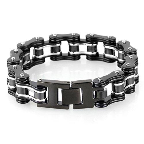 YSM Heavy-Duty-Armband-Motorrad-Stulpe-Armband-316L-Edelstahl-Männer Masculine Fahrrad-Kettenarmband mit Druckverschluss (Schwarz + Silber) -