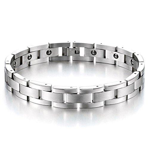 Zeitlos Magnetische Edelstahl-Armband für Herren mit Magnete Farbe Silber, Link-Tool zum Entfernen Enthalten -