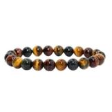 Contever® 8mm Naturstein 22 Lava Beads TigerEye -Armband Elastisches Armreif -