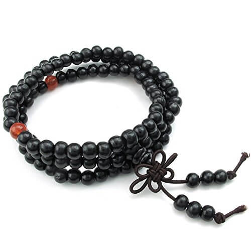 KONOV Schmuck Herren Damen Armband, 8mm Tibetisch Buddhistischen Sandelholz Perlen Gebet Mala Kette, Holz, Schwarz -