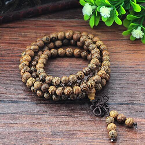 MJARTORIA Lebensbaum Sandelholz Kugel Holzmehr Perlen Strang Armband Buddhistisches Armband Stammes-Surfer Wickelarmband mit Schleife Verschliess (Elastische Kette) -