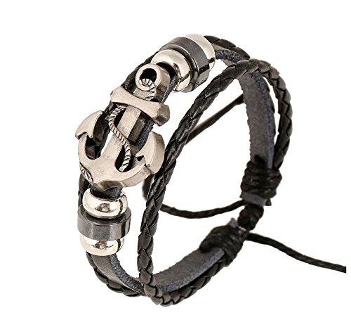 TJeanny Armband schwarz Leder Anker Armband schwarzes Leder Armband Silber Perlen Retro Band Retro Armreif Kette für Damen und Herren -