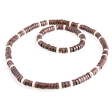 DonDon Halskette und Armband mit Echtholzperlen im Beach Look -