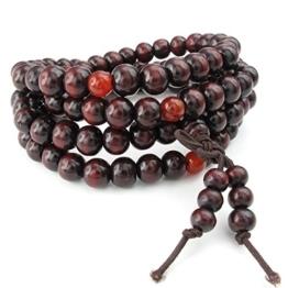 KONOV Schmuck Herren Damen Armband, 8mm Tibetisch Buddhistischen Sandelholz Perlen Gebet Mala Kette, Holz, Rot -