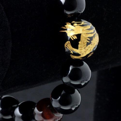 Merdia Herren Original Tiger Augen Stein Armband (12mm Golden) -