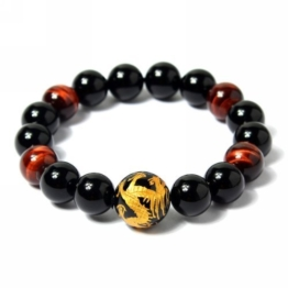 Merdia Herren Original Tiger Augen Stein Armband (12mm Golden) -