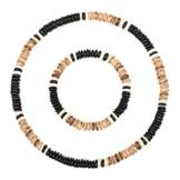 Stylez-Connection® Surferkette + Armband Surferarmband mit passender Halskette Surferschmuck Herren + Damen (Art.-Nr.: 0094 - schwarz/braun) -