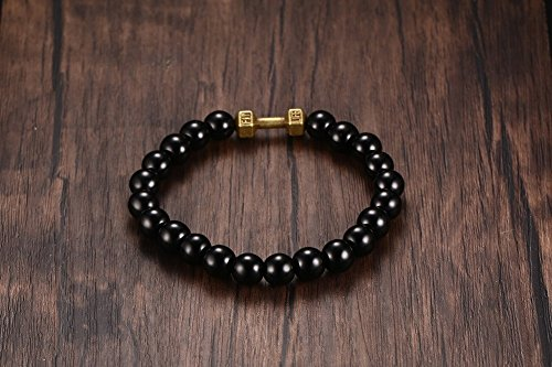 Vnox Frauen der Männer 8mm Tibetische Buddha Glasperlen Bronze Dumbbell Charme Verbindungs Armband,Schwarz -