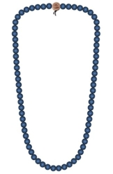 WOOD FELLAS Unisex Deluxe Holz-Perlenkette blue 6mm -