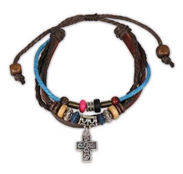 °°5252 Lederarmband mit Kreuz und Perlen blau/braun