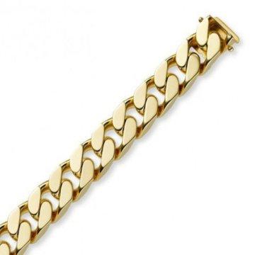 12mm Armband Armkette Panzerarmband 750 Echt Gold Gelbgold massiv, 22cm