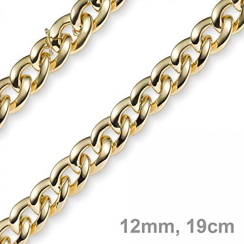 12mm Weitpanzer Phantasie Armband Armkette aus 585 Gold Gelbgold 19cm -
