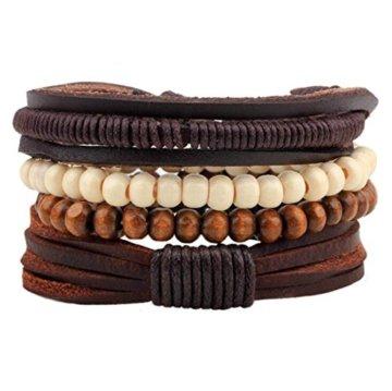 2 Stück Passte Paar Nationale Wind Leder Handgefertigte Holz Perlen Geflochten Armband Kombination Handseil Männer Und Frauen Allgemein