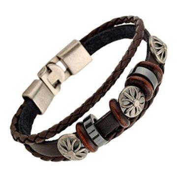 2 Stück Passte Paar Retro Leder Armband Kombination Armband Handgefertigte Holz Perlen Weben