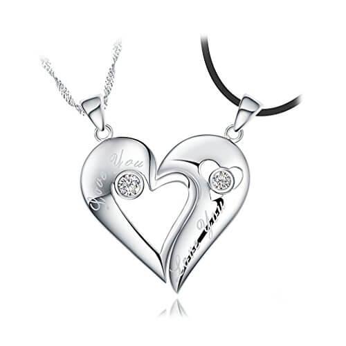 2 halbe Herzen passende Paare Halsketten-Geschenk für Sie und Ihn