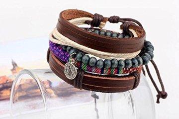 2 Stück Passte Paar Kortex Multi-stranded Perle Männer Retro Armband Holzperlen Stricken Kombination Einstellbare Größe -