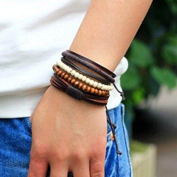 2 Stück Passte Paar Nationale Wind Leder Handgefertigte Holz Perlen Geflochten Armband Kombination Handseil Männer Und Frauen Allgemein -