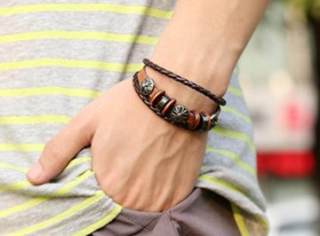 2 Stück Passte Paar Retro Leder Armband Kombination Armband Handgefertigte Holz Perlen Weben -