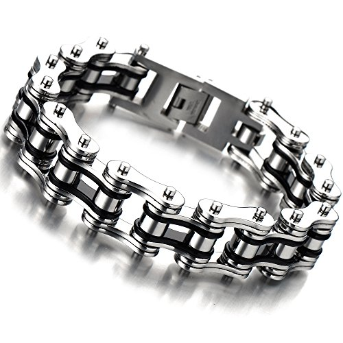 22CM Top-Qualität Herren-Armband Edelstahl Fahrradkette Motorradkette Silber Schwarz Zwei Töne Hochglanz Poliert