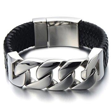 23CM Großes Einzigartiges Geflochtenes Leder-Armband Panzerkette Armband für Herren aus Edelstahl und Echtem Leder