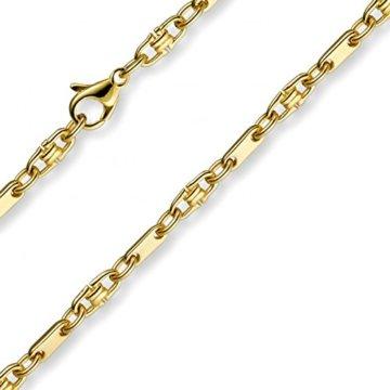 3mm Armband Armkette Platte-Steigbügelkette, 585 Gold Gelbgold, 19cm