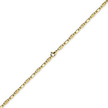 3mm Armband Armkette Platte-Steigbügelkette, 585 Gold Gelbgold, 19cm -