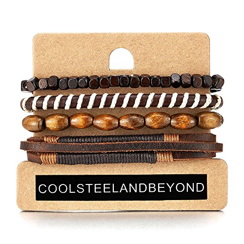 4 Braun Wickeln um Strap Armband Herren Damen, Multi-Strang Perlen Holz Armband, Lederarmband Baumwolle Schweissband