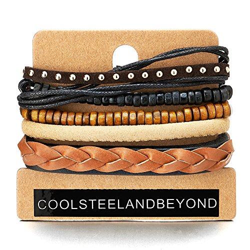 5 Braun Schwarz Wickeln Strap Armband Herren Damen, Multi-Strang Geflochtene Leder Perlen Holz Armband, Ethnischen