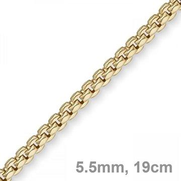 5,5mm Phantasie Armband Armkette Armschmuck aus 585 Gold Gelbgold, 19cm -