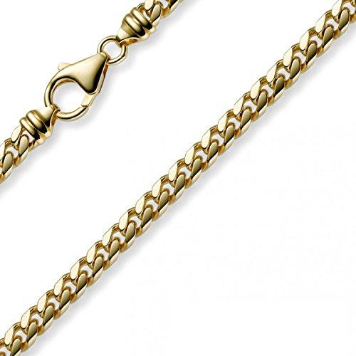 5mm Armband Panzerkette oval diamantiert massiv, 585 Gold Gelbgold, 21cm
