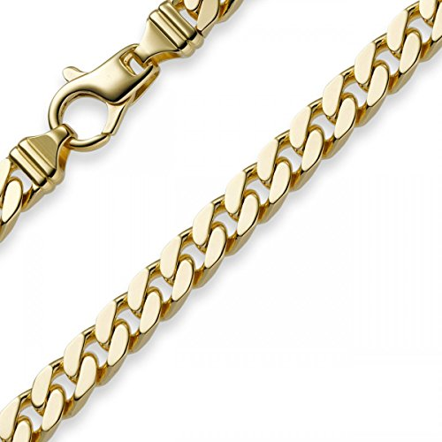7mm Armband Panzerkette diamantiert, 750 Gold Gelbgold massiv, 21cm
