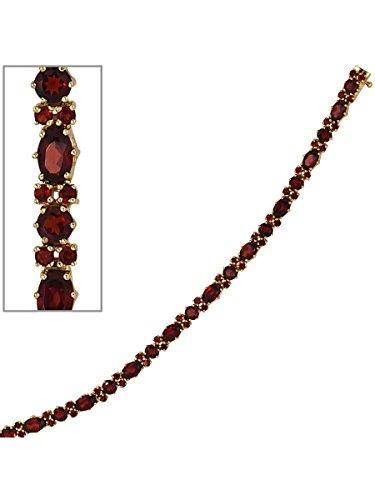 8 k ( 333 ) Gold Armband mit Granat – B 4,90 mm – T 4,10 mm – L 19 cm