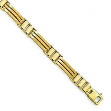 8,25mm 14ct Gold poliert und gebürstet Herren Armband–20cm