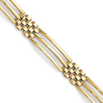 8,75mm 14ct Gold poliert Link Herren Armband–20cm