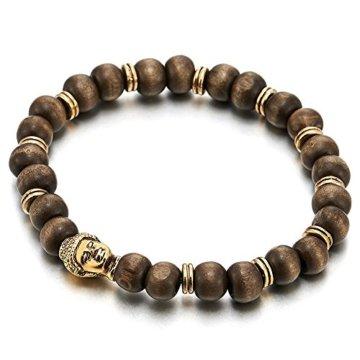 8mm Herren Damen Armband Perlen mit Goldfarben Buddha Charme, Holz Bettelarmband, Tibetan Beads Buddhist Prayer Mala
