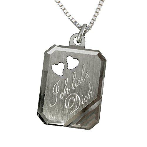 925 Silber Anhänger mit 2 ausgestanzten Herzchen +Kette + Gravur: Vorderseite: Ich liebe Dich + Rückseite Datum / Vorname
