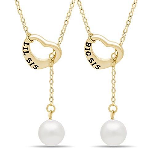 925 Sterling Silber Schwester Lariat Halskette Herz Set für Big Sis Lil Sis – 14 K vergoldet, Herz Halsketten für zwei Schwestern SWZ Perle Halsketten Kette 40,6 cm + 5,1 cm EXT W Schließe
