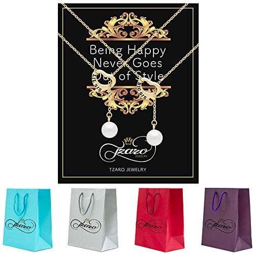 925 Sterling Silber Schwester Lariat Halskette Herz Set für Big Sis Lil Sis – 14 K vergoldet, Herz Halsketten für zwei Schwestern SWZ Perle Halsketten Kette 40,6 cm + 5,1 cm EXT W Schließe -