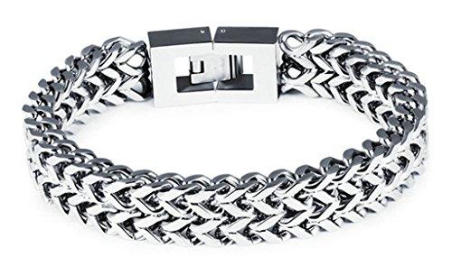 AMDXD Schmuck Edelstahl Herren Armband 12mm Breit Doppelt V Silber Panzerarmband 21CM