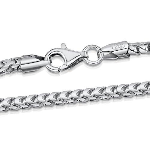 Amberta 925 Sterling Silber Halskette für Herren – Rhodiniert – Panzerkette (Franco Kette) 2.5 mm
