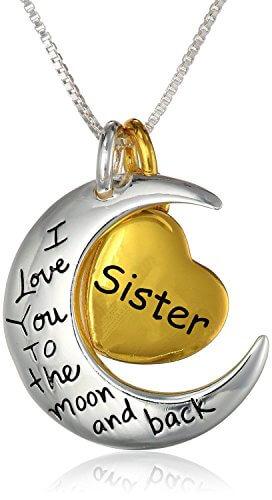 """Anhänger Sterling Silber mit Gelb-vergoldetem Herz """"Sister, I Love You To The Moon And Back""""  Halskette 45,7cm"""