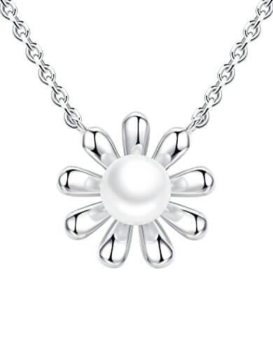 Aoiy Damen-Halskette, Sterling Silber, Sonnenblume con Schale Perle, für Mädchen und Frau, zhp001bi