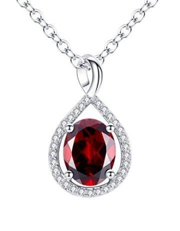 Aoiy Damen-Halskette mit Anhänger, Sterling Silber, 1.96 Karat Natürlicher ovaler roter Granat, für Mädchen und Frau, 45cm Kette, zfp011ho