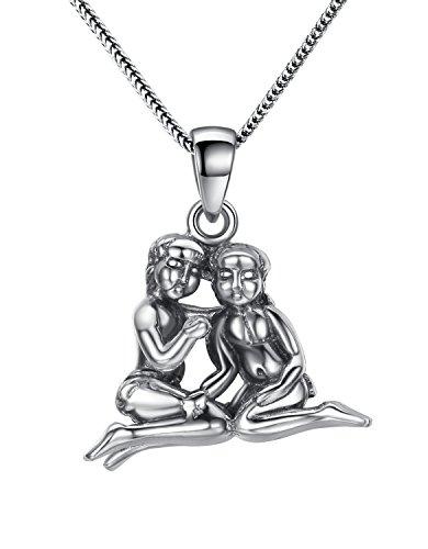 Aoiy Damen-Halskette mit Anhänger, Thai Sterling Silber Oxidiert, Astrologie Horoskop Sternzeichens Gemini Zwillinge, für Mädchen und Frau, Antikes Ende, 45cm Kette, zgp003wu