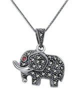 Aoiy Damen-Halskette mit Anhänger, Thai Sterling Silber Oxidiert, Elefant con Markasit und rote Zirkonia, für Mädchen und Frau, Antikes Ende, 45cm Kette, zgp013he