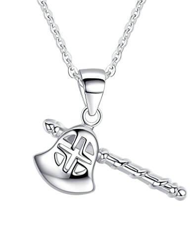 Aoiy Unisex-Halskette mit Anhänger, Sterling Silber, Kreuz Axt, Für Frauen oder Männer, zkp006bi